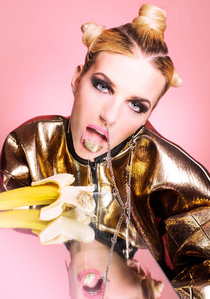 Marla Singer Photography - CLEO  For more of my recent work please check: http://marla.lt/ https://www.facebook.com/marlasingerphotography?fref=ts http://marlasingerphotography.tumblr.com/   #fashion #photoshoot #gold #golden #golden_bomber_jacket #bomber_jacket #pink #banana #glitter #golden_saliva #pretty #blonde #blond_hair #mirror #nose_piercing #nose_ring #Marla_Singer #Marla_Singer_Photography