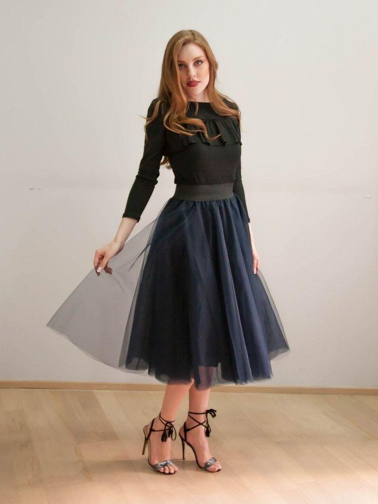 skirt tutu midi navy color Joanna Misseli exlcusively in Papa k Froufrou