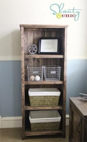 Build a Great Bookcases with These Free Plans: Rustic Wood Bookshelf Plan from Ana White