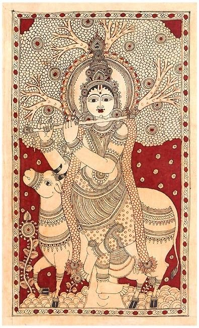 Krishna as Gau Gopala - Cotton Kalamkari Painting