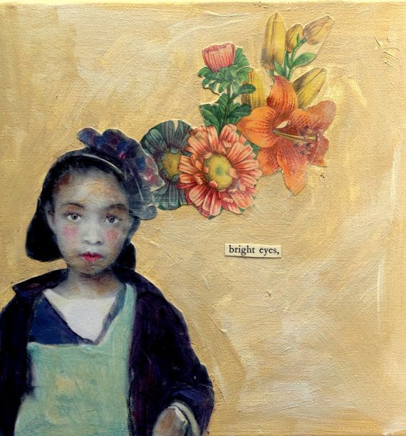 Bright Eyes vintage child  A floral fantasy by MaudstarrArt