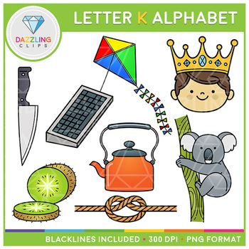This set contains 16 image files, including 8 black & white and 8 color images in PNG format. All images have a 300 dpi resolution with a transparent background, to get crisp images in your projects! This letter K alphabet includes the following art: • King • Knife • Keyboard • Kite • Kiwi • Knot • Koala • Kettle
