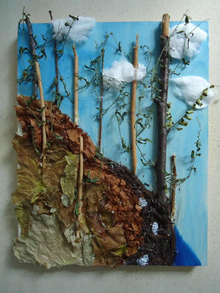 'Forest walk' Natural materials and found materials collaged on wood panel.
