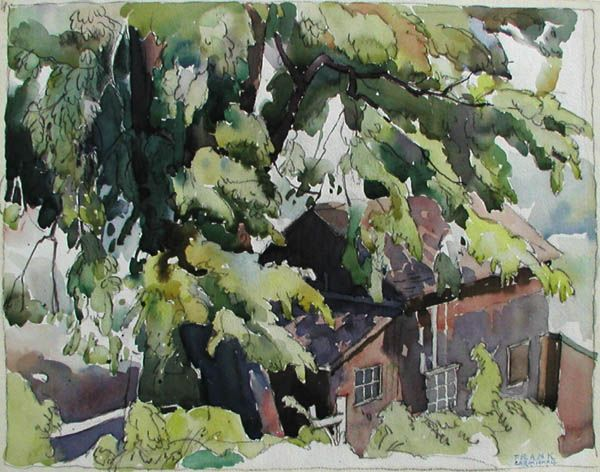 """""""Summer Cottage"""", FRANKLIN CARMICHAEL OSA, G OF 7, CSPWC, CGP, RCA watercolour (10.25x13 in) 1930 Previously sold at Mayberry Fine Art"""