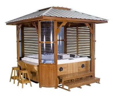 Hot tub enclosure with roof kit hot tub pinterest for Hot tub shelter plans