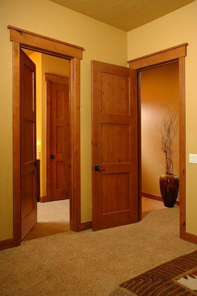 "Craftsman Interior Doors 1-3/4"" Thick Knotty Alder, 3-Panel Horizontal, Honey Stain"