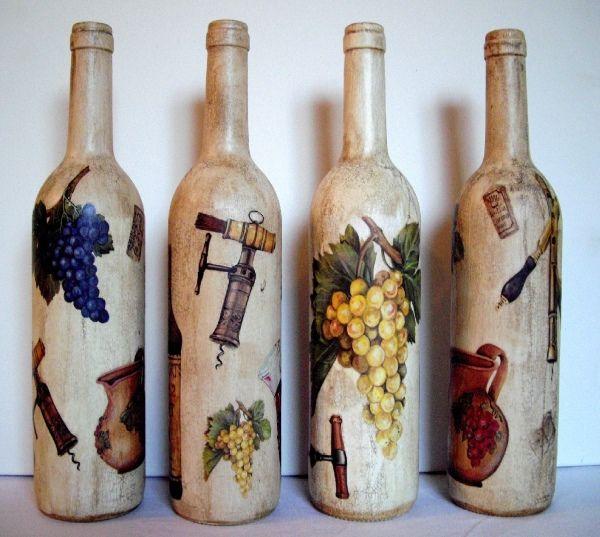 Декупаж винных бутылок