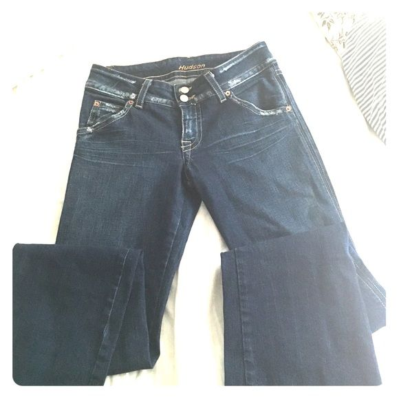 Hudson jeans size 30 fits like 26-27 Barely worn, distressed Hudson Jeans size 30 but fits small more like 27-28 maybe. Hudson Jeans Jeans Boot Cut