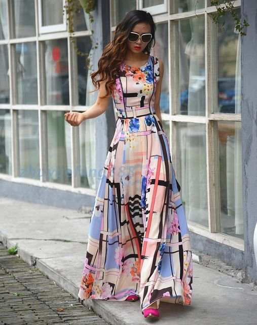 2015 new fashion women summer maxi dresses elegant evening party casual o-neck sleeveless flower print bohemian long dress S2982 US $50.56 /piece CLICK LINK TO BUY THE PRODUCT  http://goo.gl/oYWEYs