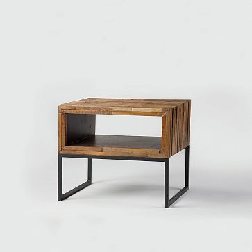 """Mixed Wood Side Table #westelm $549 24""""w x 17""""d x 20""""h. •Reclaimed walnut top and peroba frame in a Natural finish."""