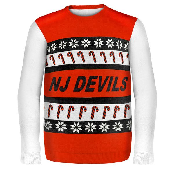 New Jersey Devils NHL Ugly Sweater Wordmark available at uglyteams.com. Check out uglyteams.com for other merchandise and accessories!
