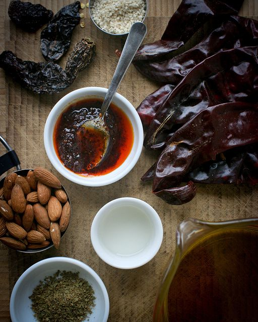 Salsa Macha: Mexico (Veracruz) salsa of dried chilli, garlic, oregano, almonds, sesame seeds and oil.