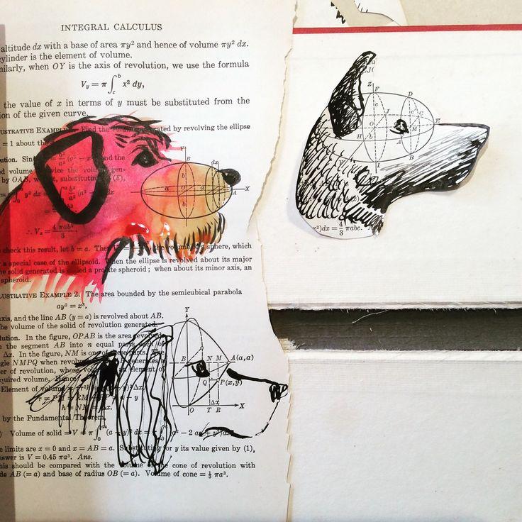 Mathematical collage dog heads
