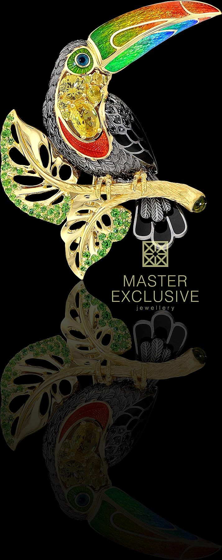18K yellow gold, yellow diamonds, black diamonds, yellow sapphires, green tourmaline, demantoids, enamel.
