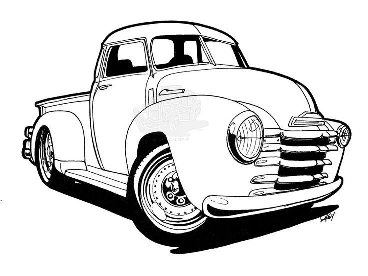 Cars chevy truck coloring pages