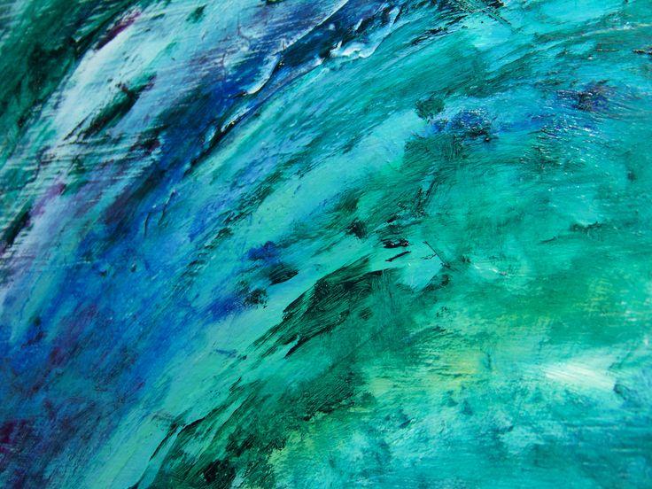Cobalt Blue Abstract Wallpaper: Abstract Painting: Black, Cobalt Blue & Mint Green