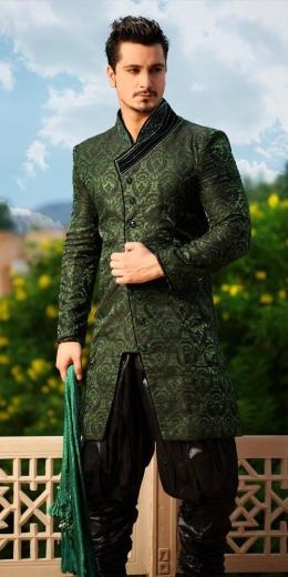 This green Sherwani reminds us of Robin Hood with futuristic pants. What do you know about sherwanis? http://attireclub.wordpress.com/2013/04/20/what-do-you-know-about-sherwanis/