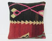 sitting pillow 18x18 kilim rug pillow boho chic fabric art pillow cover chevron pillow case rustic pillow sham shabby chic decorating 22197