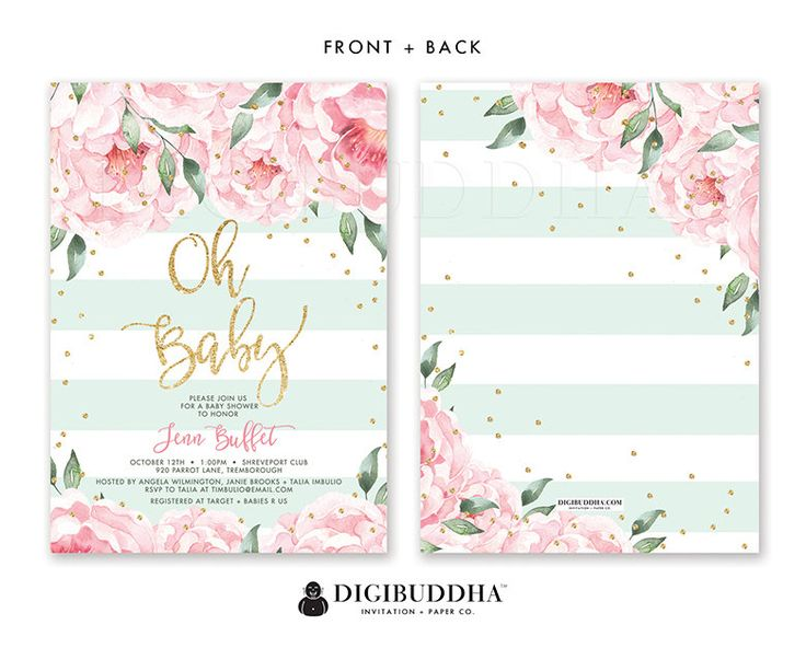 Beautiful baby shower invitation with blush pink watercolor peony blooms, a soft pale mint green stripe pattern and gold glitter sprinkle confetti dots. Modern hand lettered calligraphy script in gold glitter. Coordinating backer included! All of our invitations and coordinating paper goods are exclusively created in-house by Digibuddha designers - accept no cheap imitations.  *This invitation does not include real glitter, but rather a quality high resolution graphic that will print to look…