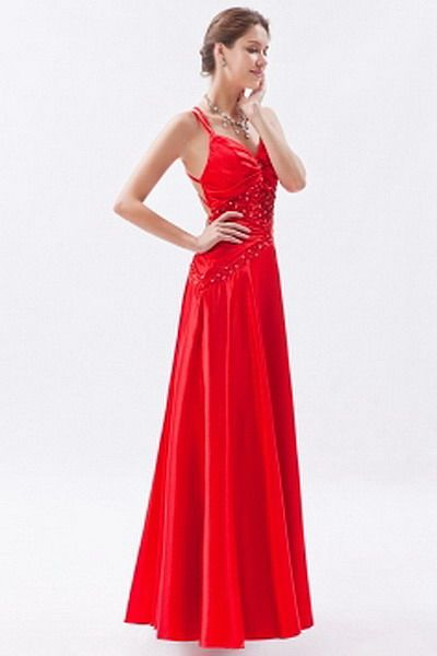Classic A-Line V-Neck prom Gown - Order Link: http://www.thebridalgowns.com/classic-a-line-v-neck-prom-gown-tbg7354 - SILHOUETTE: A-Line; SLEEVE: Sleeveless; LENGTH: Floor Length; FABRIC: Satin; EMBELLISHMENTS: Beading , Sequin - Price: 193USD