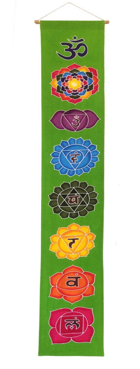 Cotton tapestry chakras wall hanging yoga decor by Babylonbybus