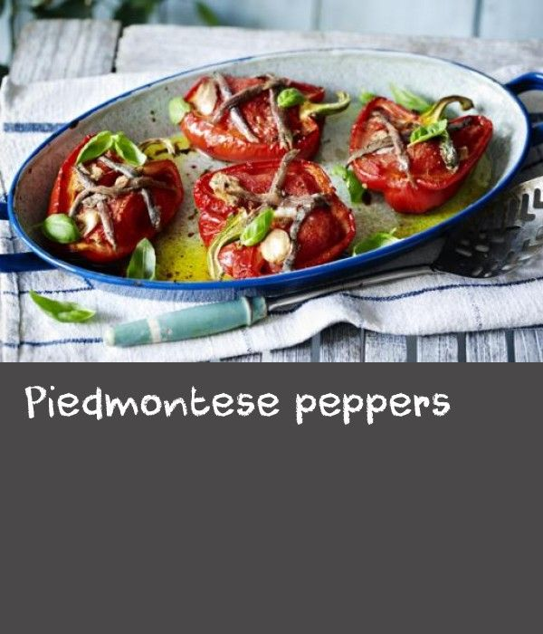 Piedmontese peppers |      Explore Mediterranean flavours with Simon Hopkinson's recipe for roast peppers – perfect for antipasto or a light lunch.This meal is low calorie  and provides 231 kcal, 6.2g protein, 16g carbohydrate (of which 15g sugars), 16g fat (of which 2.5g saturates), 6g fibre and 1g salt per portion.