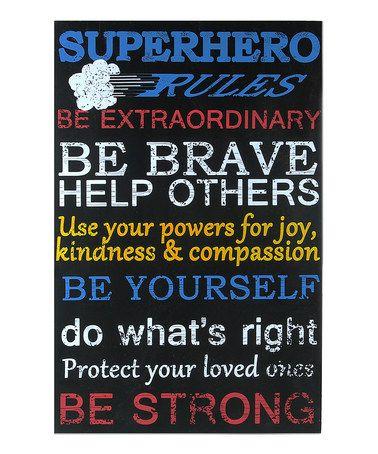 Look at this #zulilyfind! 'Superhero Rules' Wall Sign #zulilyfinds