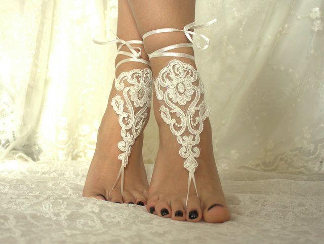 plage de mariage, chaussures de mariée en dentelle, des bijoux de pied, cheville de dentelle d'ivoire
