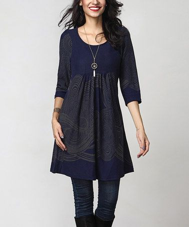 Love this Navy Cloud Empire-Waist Tunic Dress on #zulily! #zulilyfinds