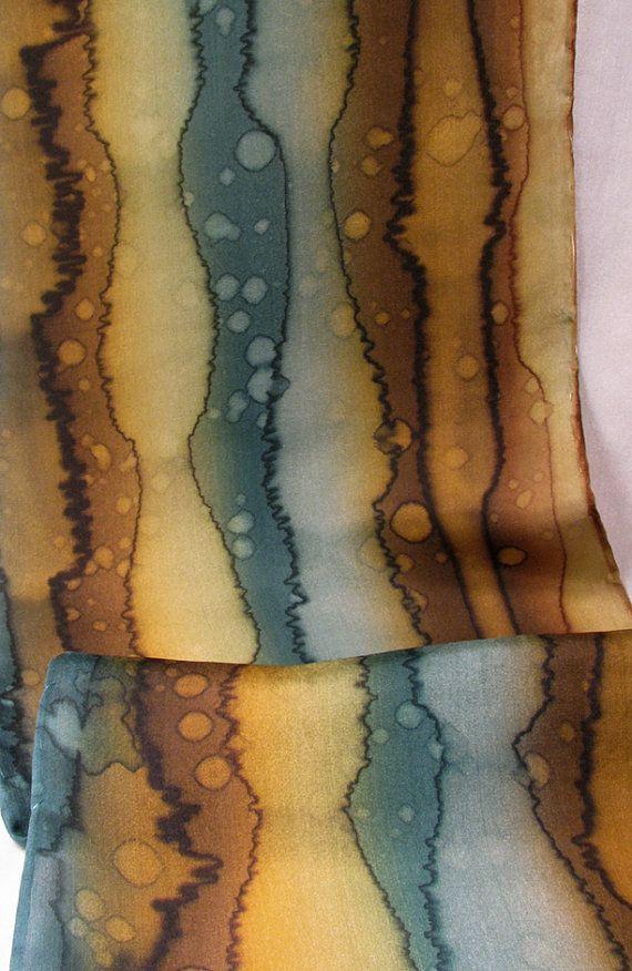 Marrone di sciarpa in seta dipinta seta sciarpa di Quintess