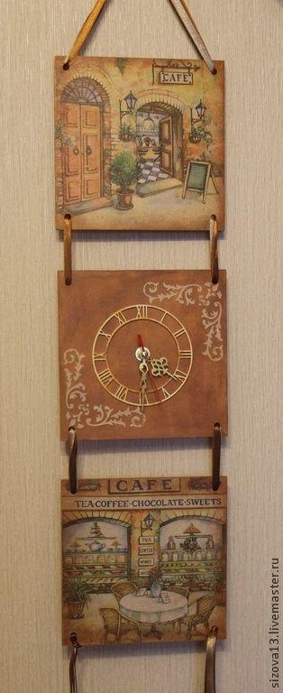 Купить Панно-часы Уютное кафе - коричневый, панно-часы, Декупаж, ручная работа