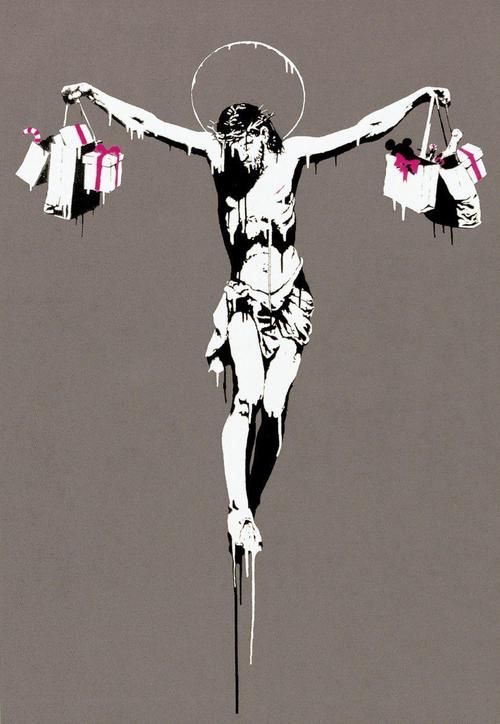 This was Banksy's take on Christmas - ever ready to combine religious and political figures with references to consumerism, this one's as witty as it is powerful!