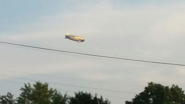 Goodyear Blimp flying over The Hall of Fame, Friday night August 5th, 2016.