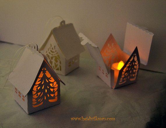 Paper Cut House - Mini Lantern - Tea Light Lantern - Christmas - Yule - Decoration
