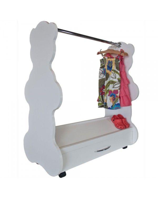 Roll Away Mobile Closet Bear White Baby Furniture
