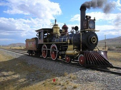 A Rogers Locomotive Works replica of Union Pacific No. 119 at the Golden Spike National Historic Site, Promontory, Utah...
