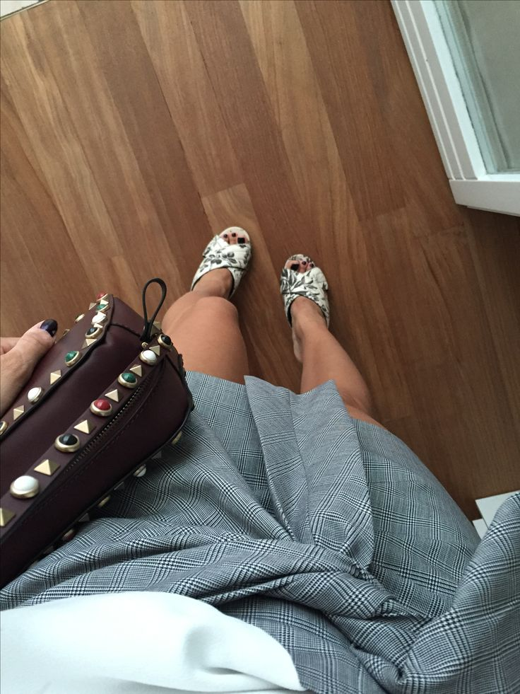 Valentino rockstud BAG ZARA skirt Gucci shoes