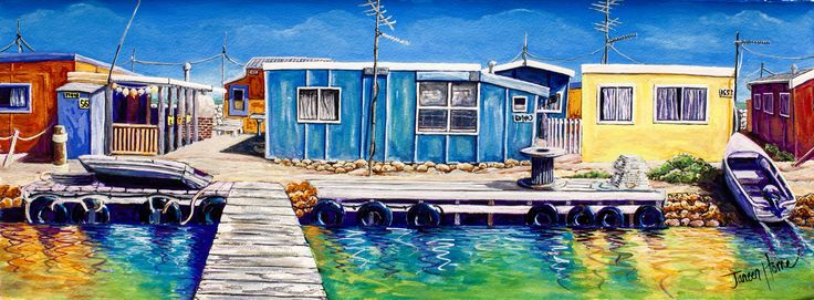 Gouache painting of Basile Island- Abrolhos islands, Western Australia by Janeen Horne  - wwwjaneenhorneartist.com