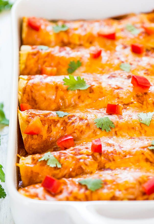 Sweet Potato, Corn  Black Bean Enchiladas (vegetarian) - Healthier comfort food that everyone will love! Fast, easy and tastes amazing!