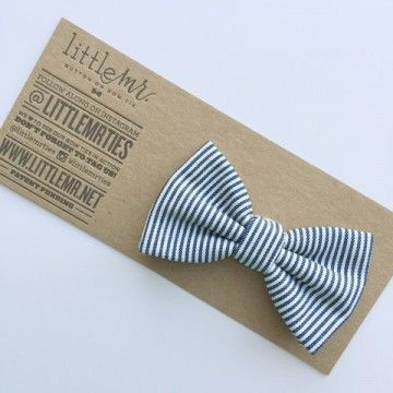 Little Mr Toddler Bow Tie - Navy Stripe - Little Mr. has revolutionized the toddler bowtie.  Gone are the days of uncomfortable metal clips, and here are the days of button-on bowties!  Just button it onto the top of your little man's collared shirt! BabyCubby.com