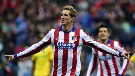 March 21st. 2015: Fernando Torres celebrates his goal for Atletico Madrid in a 2-0 win over Getafe.