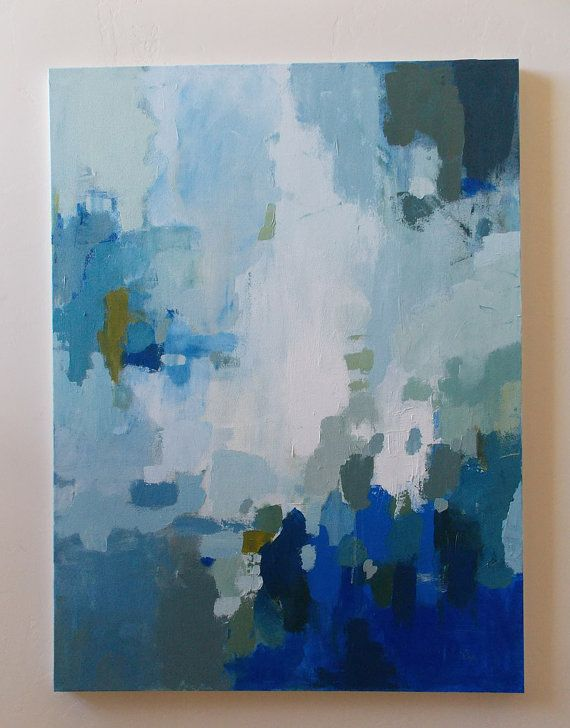 Large abstract painting blue and white acrylic on canvas ...