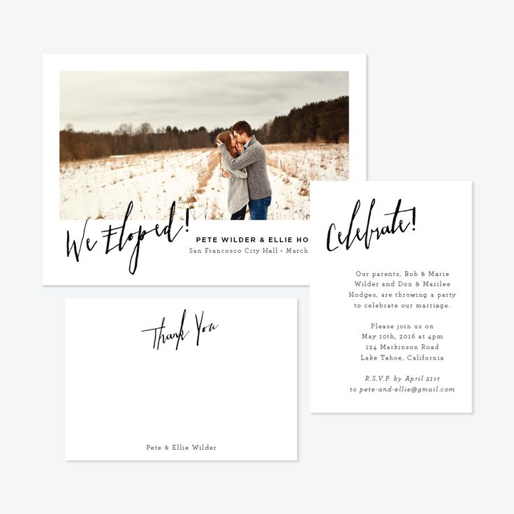 Angled Photo Elopement Announcement