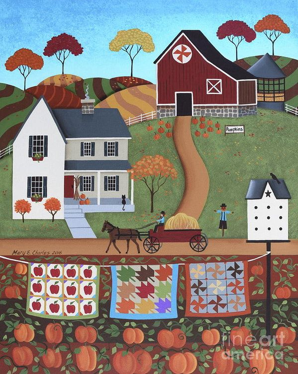Seasons Of Rural Life - Fall Print by Mary Charles.  All prints are professionally printed, packaged, and shipped within 3 - 4 business days. Choose from multiple sizes and hundreds of frame and mat options.
