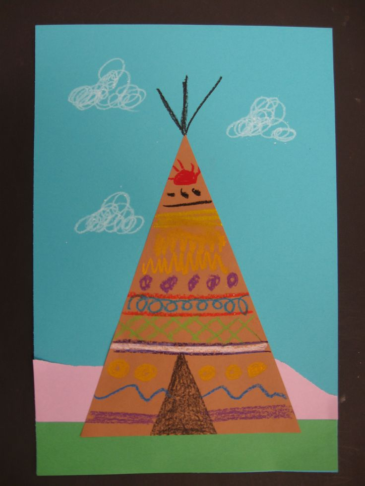 Tee Pee with landscape, shapes, lines, patterns