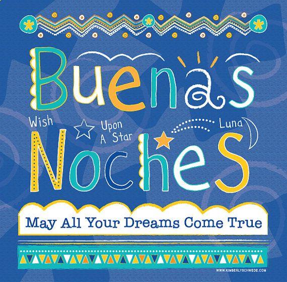 Good Night (Buenas Noches) Canvas Wall Art for Children