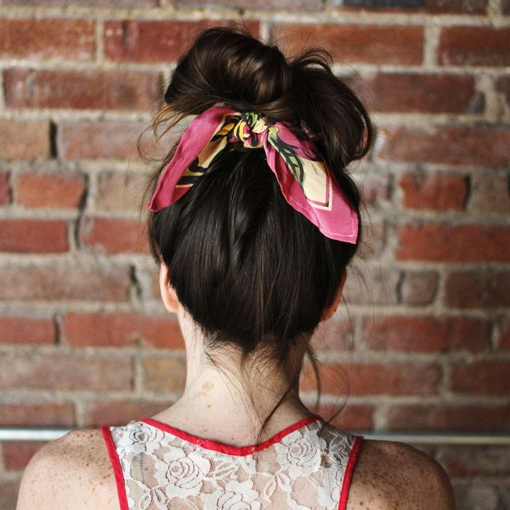 Style your hair in a messy bun and tie the scarf around the base of the bun with the knot in the back.: Hairstyles, Messy Buns, Hair Style, Hair Scarf, Scarfs, Beauty, Silk Scarf, Silk Scarves, Knot