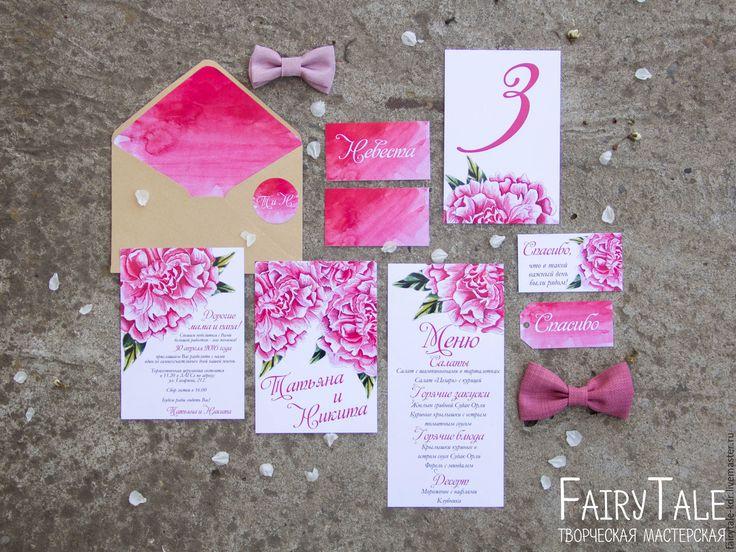 """Купить Приглашение на свадьбу """"Пионы"""" - розовый, приглашение, пригласительное, приглашение на свадьбу, свадебное приглашение, акварель"""