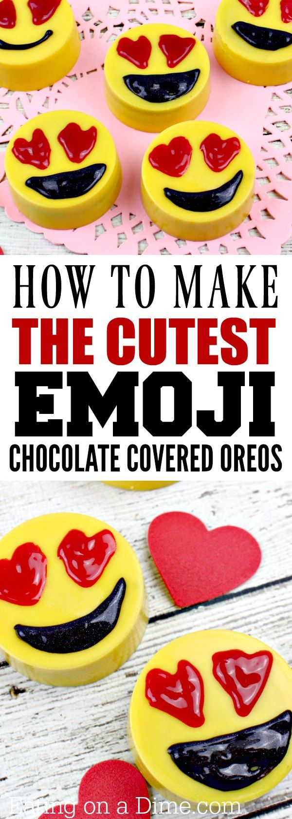 Looking for Valentine's Day ideas? Easy to make Emoji Chocolate Covered Oreos are adorable! This a very simple chocolate covered oreos recipe that is perfect Valentine's Day or any party!