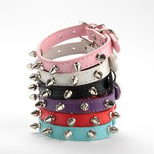 6Colors PU Leather Spike Studded Adjustable Pet Small/Medium Dog Collar XS S M L